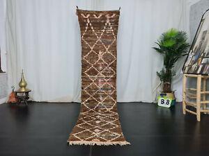 """Moroccan Handmade Runner Rug 2'3""""x9'8"""" Vintage Geometric Brown Berber Wool Rug"""