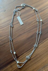 Stunning Oroton Long Crystal & Pearl Necklace Silver $275.00 - BNWT