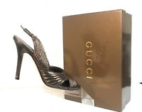 Gucci Women Shoes Bronze Leather Pumps Slingback Peep Toe High Heels Size 7.5 B