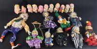 Lot de 9 clowns porcelaine collection + petites peluches