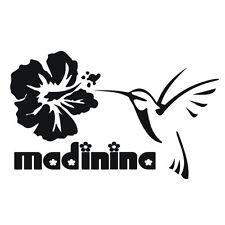 Sticker MADININA COLIBRI - Martinique - Hibiscus - 30cm x 18,5cm