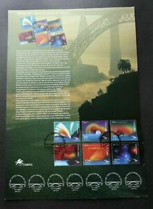 [SJ] Portugal European Capital Of Culture 2001 Music Science stamp on info sheet