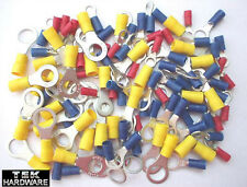 Mixed Ring Terminals 5mm to 10mm. RED, BLUE and YELLOW Crimp Connectors 100 Pack