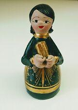 "Vintage 6"" Mexican Folk Art CLAY Pottery NATIVITY Shepherd Girl- Gold & Green"