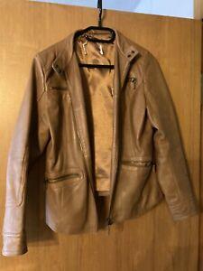Sh.eego Damen Jacke Lederjacke Bikerjacke beigerosé Used-Look Größe 48 NEU HA8