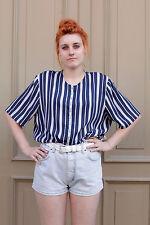 Damen Bluse blouse blau blue weiß 80er True VINTAGE 80´s women Streifen stripes