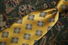 RECENT Ermenegildo Zegna Yellow Medallion Neat Flower Woven Silk Tie ITALY