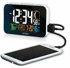 C89201 La Crosse Technology Multi-Color Atomic Alarm Clock USB Charging - White