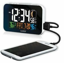 C89201 La Crosse Technology Multi-Color Atomic Alarm Clock USB Charging - White