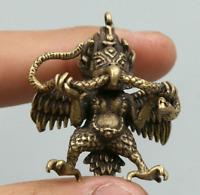 "1.6"" Collect Nepal Tibetan Buddhism Bronze Garuda Dhwaja Buddha Amulet Pendant"