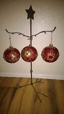 Pier1 Imports Round Red Glass & Jewels/ Gold Glitter Christmas Ornaments 3 pcs