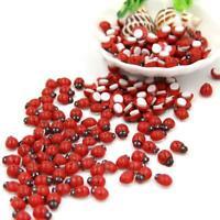 100X Mini Wooden 3D Wall Stickers Home Decor Toys Diy Ladybug &L Ladybird E5E1