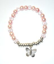 BEAUTIFUL BABY BLUSH PINK GLASS PEARL & FACETTED SPARKLY BEAD STRETCH BRACELET