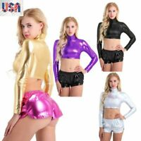 US_Metallic Liquid Turtleneck Long Sleeve Crop Top Women Short Shirt Clubwear