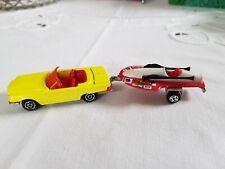 Majorette No.213 Mercedes 350 SL Cabrio gelb + Racer Speed Boat 1:60 Modellauto