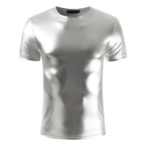 Mens PVC Wet look T shirt PVC Vest, Silver, clubwear, partywear, Size M