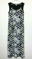 W Lane Womens Black/White/Green Sleeveless Long Lined Dress Size S