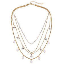 Multi Layer Amala Station Glass Oval Beads Sarburst Necklace Chic Trendy Charms
