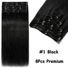 100% Real Clip in Remy Human Hair Extensions Black Brown Blonde EP Thickness US
