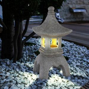 LED Außen Solar Leuchte Pagode Garten Asia Deko-Licht Figur Lampe Stein-Optik