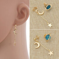 Asymmetric Blue Planet Earrings Stud Cilp Gold Moon Star Dangle Jewelry Gift