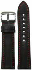22mm RIOS1931 for Panatime Black Kevlar Style Synthetic Watch Band w Red Stitchi