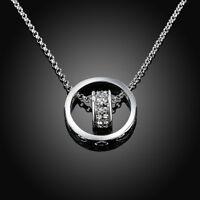 ASAMO Halskette mit Ring und Herz und Zirkonia Steinen Damen Herren HG1462