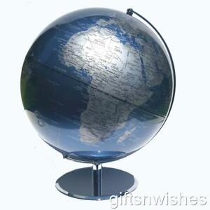 STUNNING Educational World Globe Metallic Blue 30cm Diameter Office Home Decor
