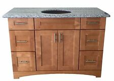 "New Maple Shaker Single-sink Bathroom Vanity Base Cabinet 48"" Wide x 21"" Deep"