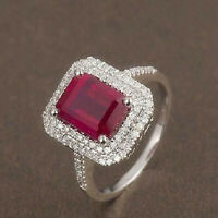 Solid 14k White Gold Blood Red Ruby Natural Diamond Wedding Halo Ring Jewelry