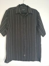 Men's Rampage USA Button Up Shirt Black White Thin Stripe Size L
