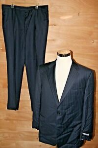 Hickey Freeman Tasmanian Super 130's Dress Suit Size 46 J 41 P Blue Stripe $1495
