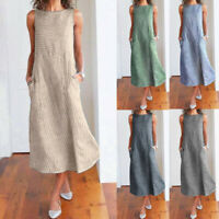 Women Casual Striped Print Sleeveless Dress Crew Neck Linen Pocket Long Dress
