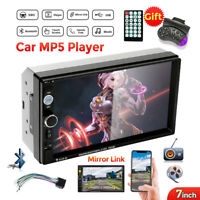 "Double 2 Din Car Stereo Radio 7"" Bluetooth USB AUX IOS/Android HD MP5 Player FM"