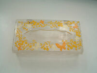 Vintage lucite acrylic tissue box  butterfly flower pattern Wolff product co.