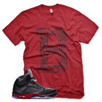 """New Red """"B"""" BLESSED T Shirt for Jordan Retro 5 Satin Bred"""