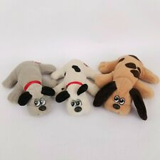 "Vintage Tonka 1980s Small 8"" Pound Puppy Newborns Lot of 3 Brown White Gray Dogs"