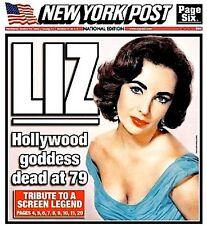 Elizabeth Taylor Newspaper New York Post Tribute 2011 MT Liz Cleopatra Photo