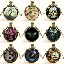 Retro Blumen Skull Steampunk Cabochon Glas Halskette Anhänger Kette Schmuck HOT