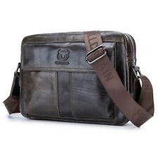 BULLCAPTAIN sac d'hommes en cuir veritable, sac a bandouliere occasionnel d D6W7