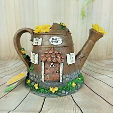 Solar Fairy House Enchanted Garden Knome Watering Can Yellow Flowers  7""