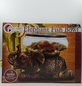 The Nifty Nook New Good Luck Decorative Gold Antiqued Elephant Glass Bowl