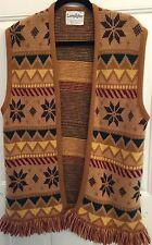 "Vintage 70's Wool woven Bohemian Hippie fringed vest Size Med Boho Chest 44"""