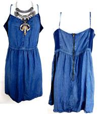 U* Maurices blue denim zip back spaghetti strap light weight mini dress 0,XL