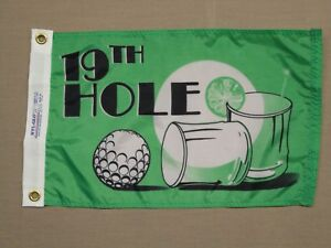 """19th Hole Golf Green Black Indoor Outdoor Dyed Nylon Boating Fun Flag 12X18"""""""