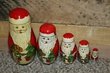 Santa Claus With Rocking Horse Nesting Doll Set 6 In - 1 1/2 Inches Height