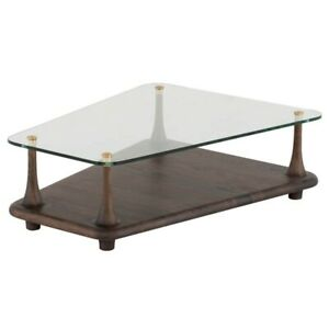 """35.5"""" W Coffee Table Floating Tempered Glass Top Seared Solid Oak Wood Base"""