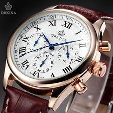 ORKINA Luxury Men's Rose Gold White Quartz Stopwatch Analog Leather Sport Watch