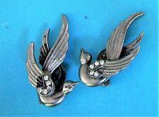 BEAUTIFUL VINTAGE CLEAR DIAMENTE BIRD EARRINGS