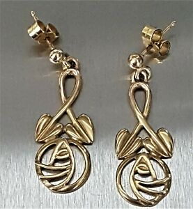 Carrick 9ct Gold Drop Mackintosh Design Earrings. Boxed. Pre-Loved.  Ref:xfod
